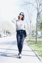 navy Topshop jeans - silver Mi & Co sweater