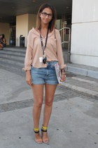 Zara sandals - H&M shorts - Basement blouse