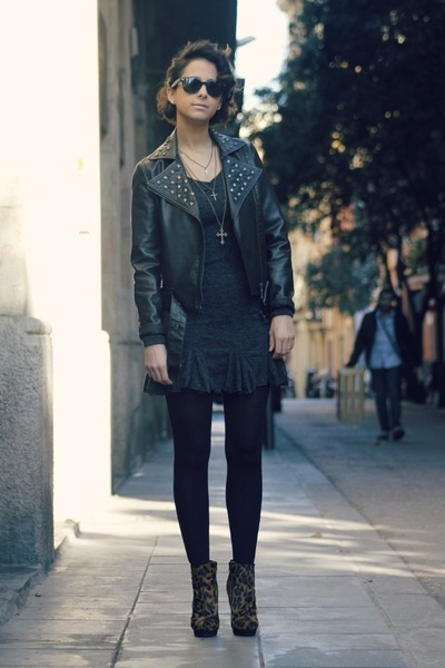 perfecto Forever 21 jacket - leopard asos boots - chicnova dress