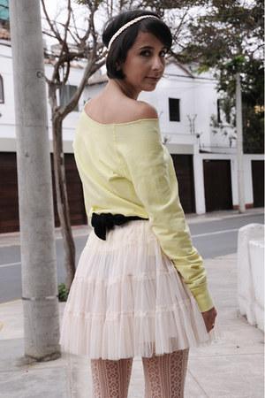 light yellow yellow Forever 21 sweater - cream Forever 21 stockings - ivory tutu