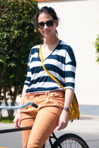 striped Forever 21 t-shirt - lace up oxfords Mango shoes - mustard Zara bag