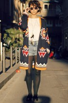 H&M shorts - Sheinside cardigan - H&M glasses - asos flats