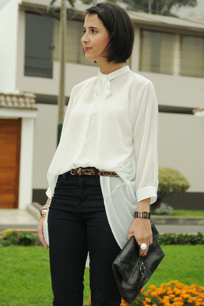 high waisted H&M jeans - bracelet paloma dibos bag - clutch Shop by Pink accesso