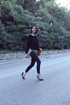 black asos blouse - dark gray Topshop jeans - carrot orange Zara bag