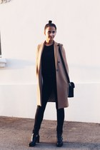 black leather Krack boots - wool Mango jacket - brown satchel Mattea bag