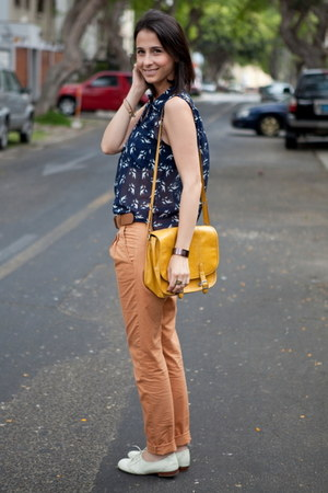 mustard Zara bag - burnt orange Bershka pants