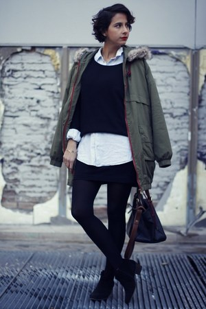 parka Zara jacket - Mango boots - H&M sweater - denim H&M shirt - maxi Zara bag