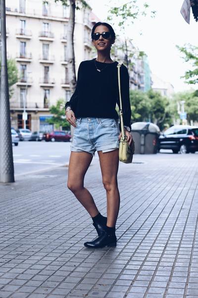 black Deichmann boots - navy ivy revel sweater - light yellow indi & cold bag