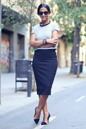 black pencil skirt Zara skirt - black sunglasses Ray Ban sunglasses