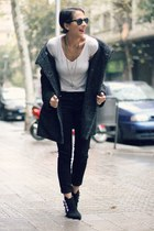 black Zara boots - black H&M coat - black Zara pants - white Zara t-shirt