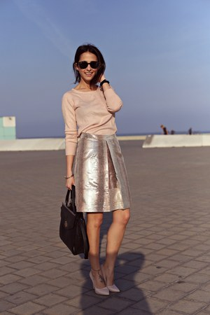 bubble gum H&M sweater - bubble gum Shana purse - bubble gum asos skirt