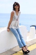 crochet free people top - 7 for all mankind jeans