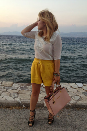 yellow Zara shorts - cream Zara blouse