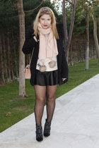 black Mango coat - light pink H&M scarf - black leather look Zara skirt