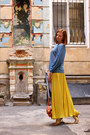 Yellow-zara-skirt-carrot-orange-mexx-purse-gold-bershka-heels