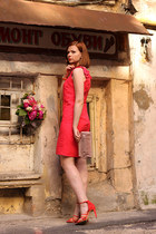 red Sinéquanone dress - ruby red Zara heels - carrot orange Michael Kors watch