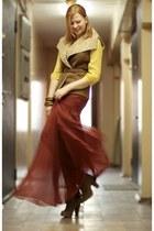 Zara boots - banana republic blouse - Akira skirt - Bershka vest