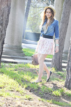 Zara skirt - fedora H&M hat - denim shirt H&M shirt - messenger River Island bag