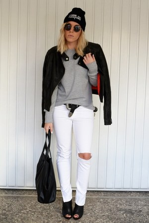 white ripped Zara jeans - black moto Motel Rocks jacket - black H&amp;M bag