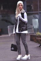 striped Sheinside pants - platforms Choies boots - printed beanie Choies hat