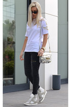 metallic Zara bag - ZLZcom jeans - embellished chicnova t-shirt