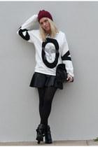Sheinside sweatshirt - Zara boots - beanie H&M hat - Zara bag - Sheinside skirt