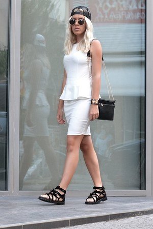 gladiator OASAP sandals - wetlook peplum AX Paris dress - OASAP bracelet
