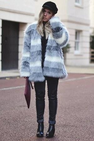 faux fur Sugarfree coat - Baleeblu boots - jennyfer jeans - Baleeblu shirt
