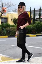 quilted H&M sweatshirt - vinyl H&M skirt - nike sneakers