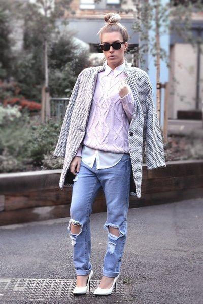 houndstooth romwe coat - boyish jeans Choies jeans