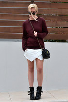 wrap skort Zara skirt - buckled Zara boots - chain cross bag asos bag
