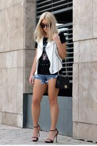 moto Zara vest - chain cross bag PERSUNMALL bag - Sheinside shorts