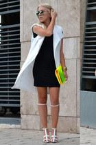 long white Choies vest - bodycon H&M dress - colored mirror Choies sunglasses