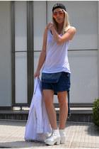 navy dungaree Motel Rocks shorts - white OASAP boots - white asos blazer