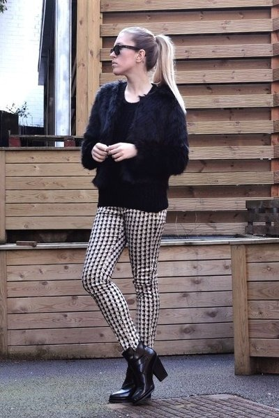 houndstooth Sheinside pants - faux fur Choies jacket - Sheinside sweater