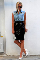 black pvc kneet skirt H&M skirt - silver metal clutch H&M purse