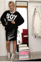 H&M skirt - sneaker wedges asos sneakers - text Boy London sweatshirt