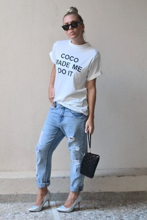 white printed top Sheinside t-shirt - navy Zara jeans - holographic Choies heels