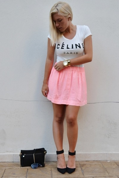 white OASAP t-shirt - bubble gum Zara shirt - Zara bag - H&M sunglasses