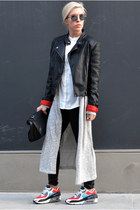 red red lined Motel Rocks jacket - white H&M shirt - black lunch Zara bag