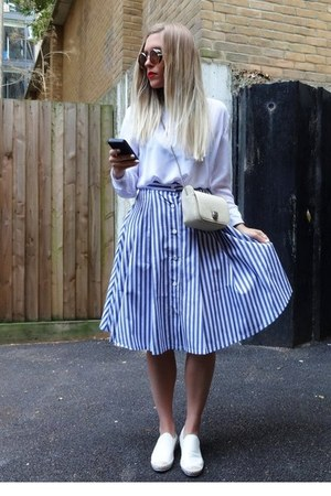 stripes Sheinside skirt - white shirt Sheinside blouse - minimal AlisonSman ring