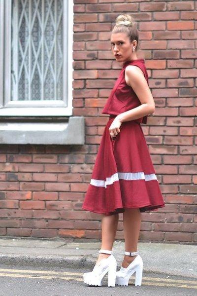 burgundy lavish alice skirt - burgundy lavish alice top - lavish alice heels