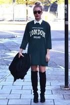 Choies boots - Choies coat - sporty Choies sweatshirt