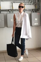 romwe shirt - highwaisted romwe jeans - boyfriend asoscom blazer - H&M bag