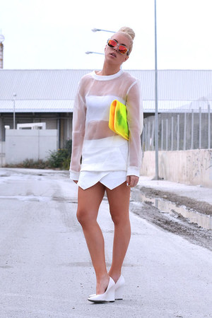 white Mango wedges - orange colored mirror asos sunglasses