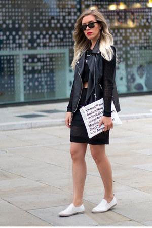 clutch Choies bag - mesh ivy revel skirt - Alison Sman flats