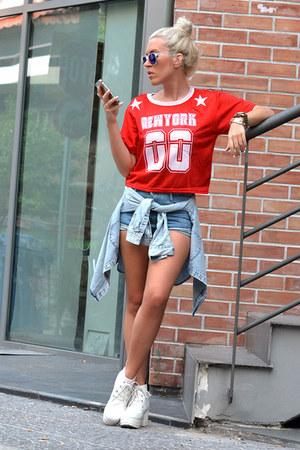 number printed Sheinside t-shirt - Sheinside shorts