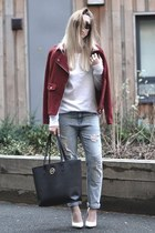 burgundy Sheinside jacket - Michael Kors bag - Kurt Geiger pumps