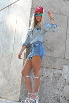 denim chicnova shirt - ripped Sheinside shorts