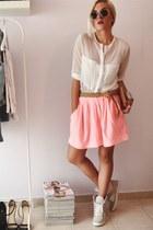 salmon skater skirt Zara skirt - white sheer shirt romwe shirt